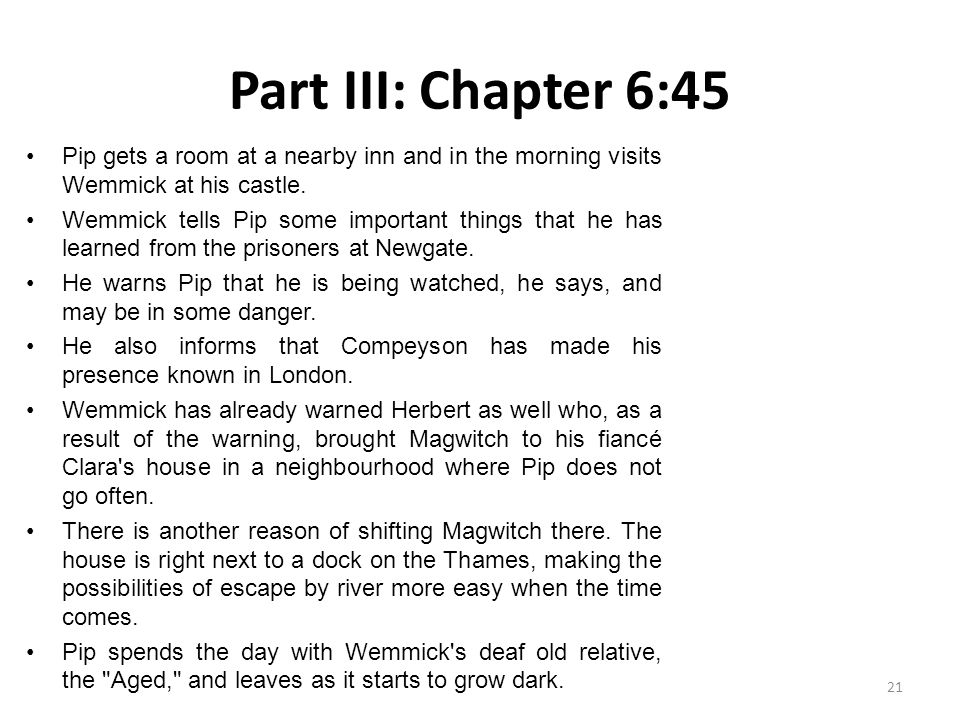 Part III: Chapter 6:45 Pip gets a room at a nearby inn and in the morning visits Wemmick at his castle.