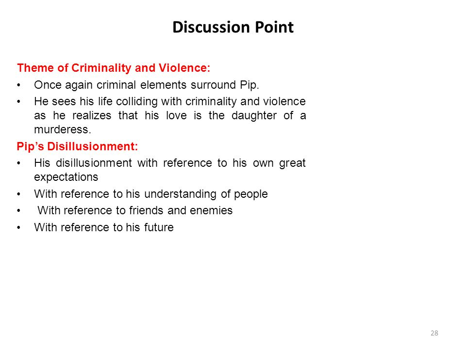 Discussion Point Theme of Criminality and Violence: