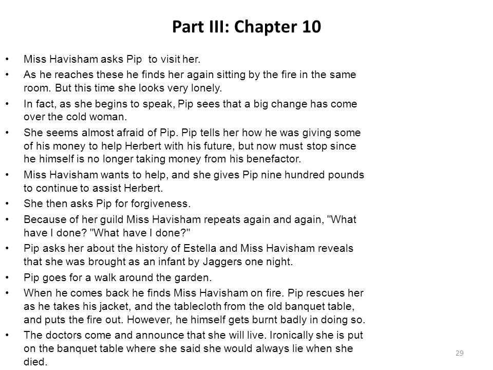 Part III: Chapter 10 Miss Havisham asks Pip to visit her.