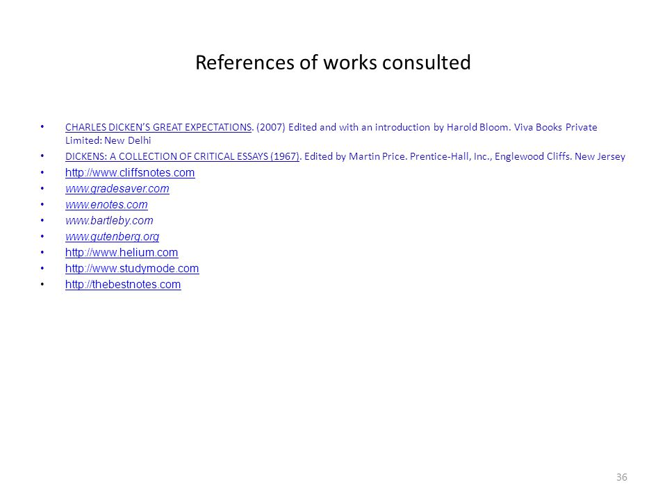 References of works consulted