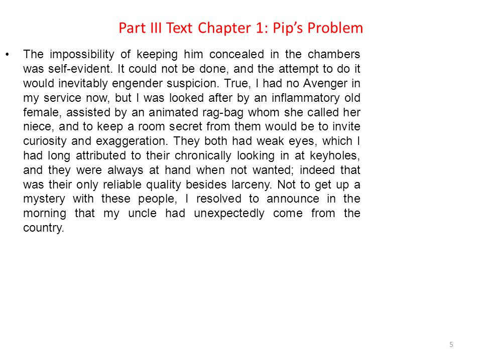 Part III Text Chapter 1: Pip's Problem