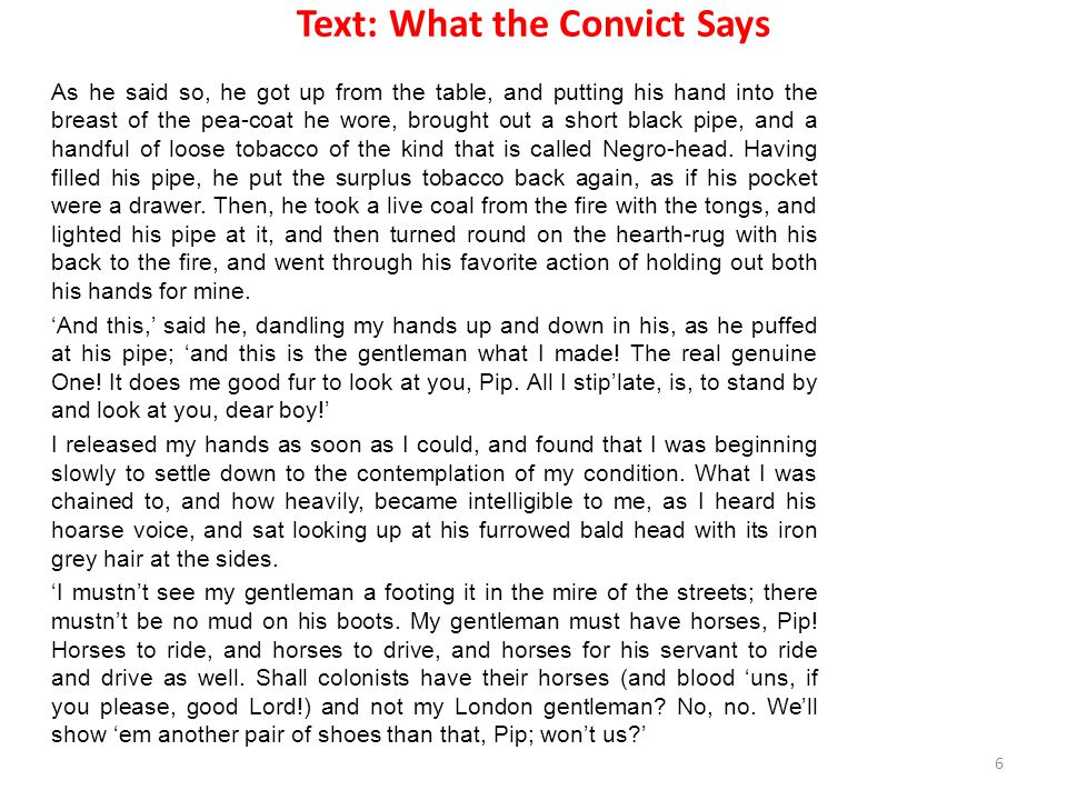 Text: What the Convict Says