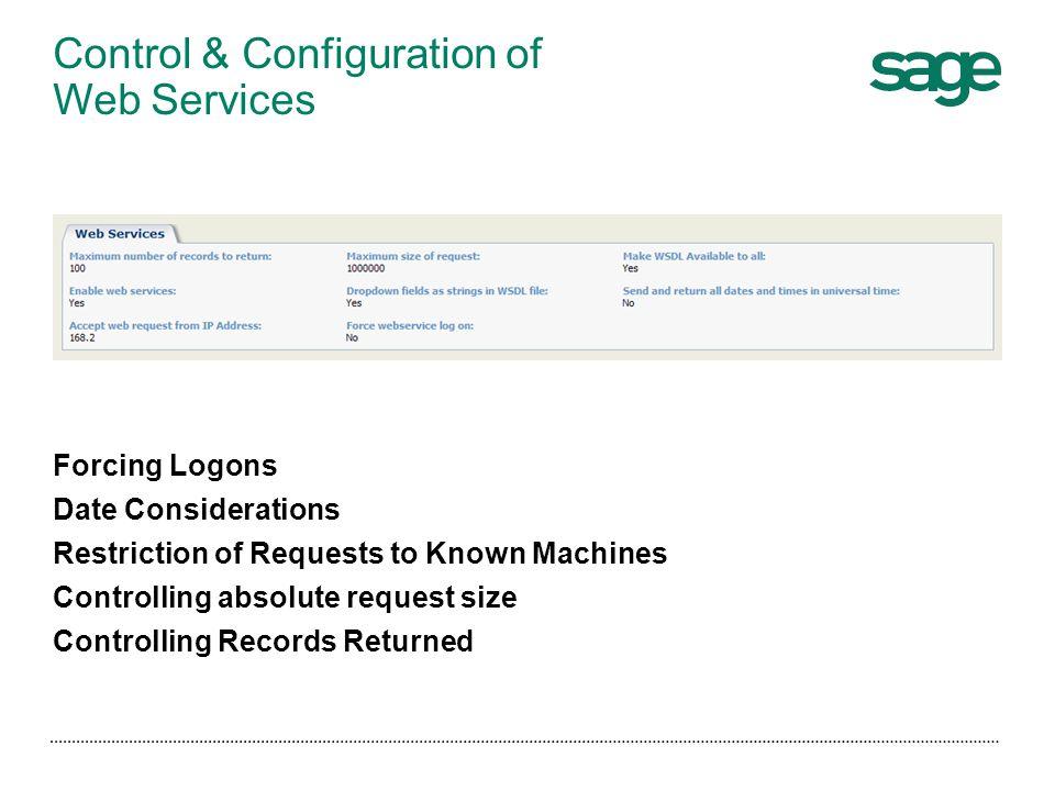 Control & Configuration of Web Services