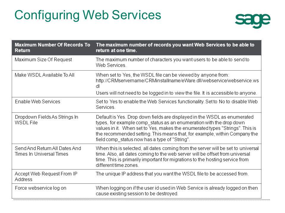 Configuring Web Services