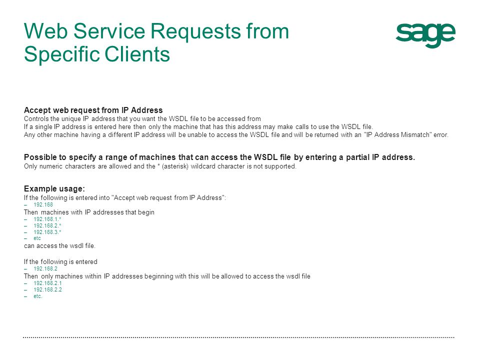 Web Service Requests from Specific Clients