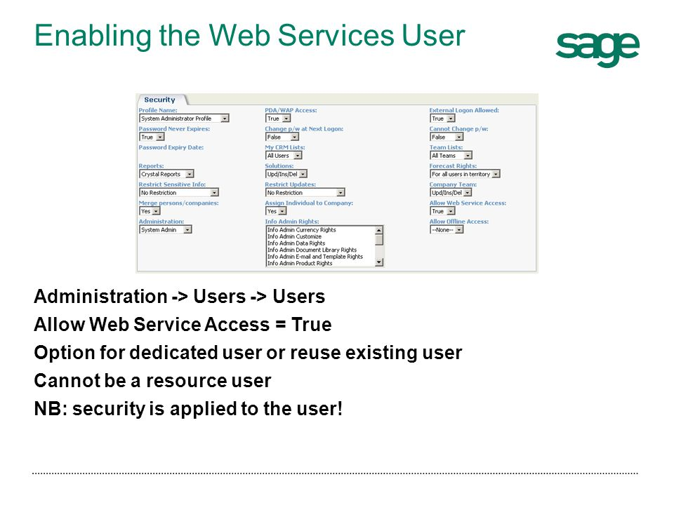 Enabling the Web Services User
