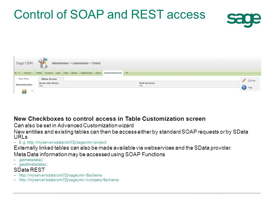 Control of SOAP and REST access