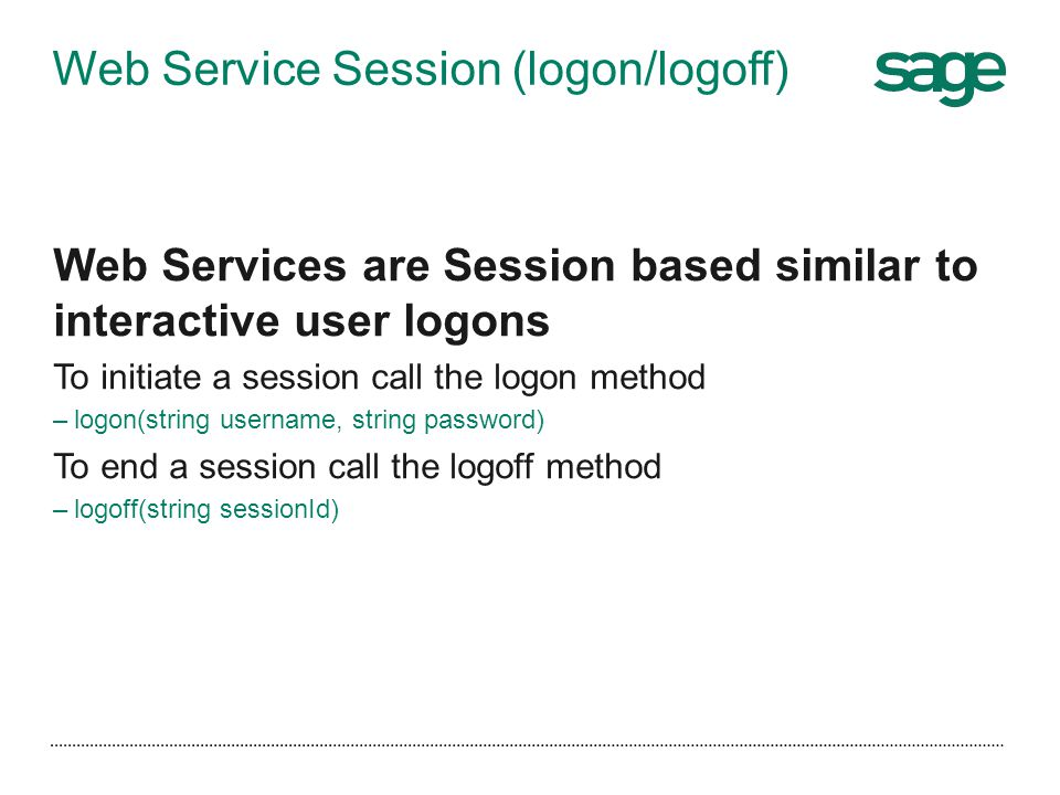 Web Service Session (logon/logoff)