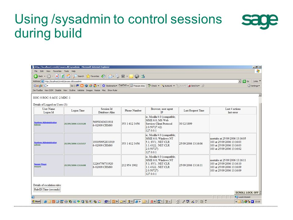 Using /sysadmin to control sessions during build
