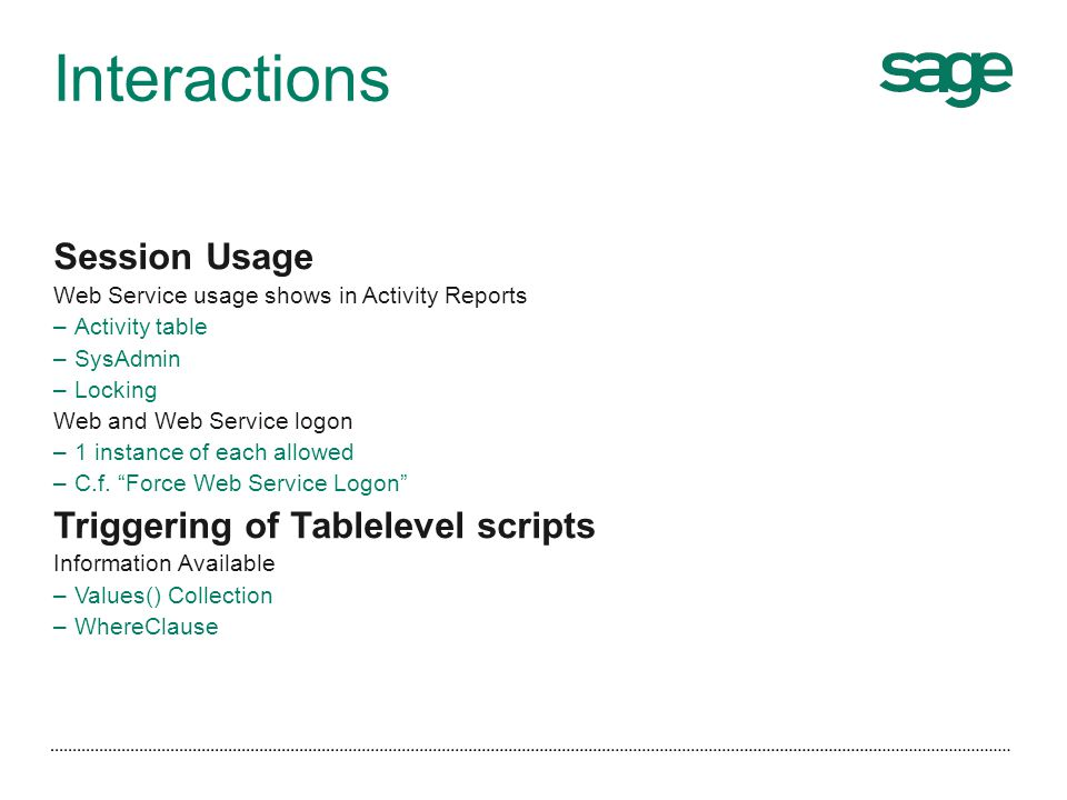 Interactions Session Usage Triggering of Tablelevel scripts