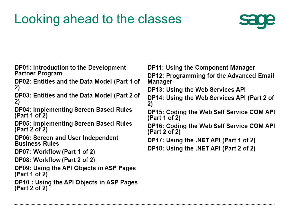 Looking ahead to the classes
