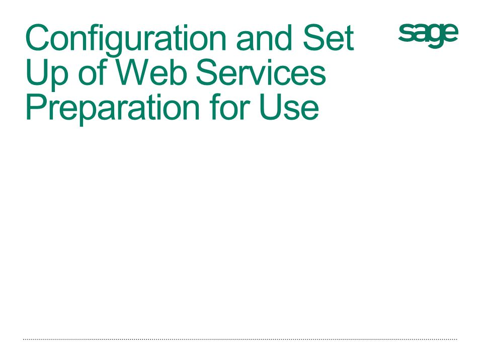 Configuration and Set Up of Web Services Preparation for Use