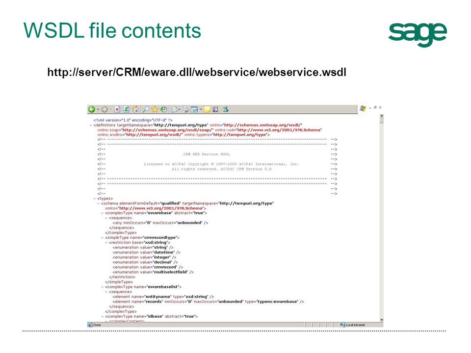 WSDL file contents http://server/CRM/eware.dll/webservice/webservice.wsdl