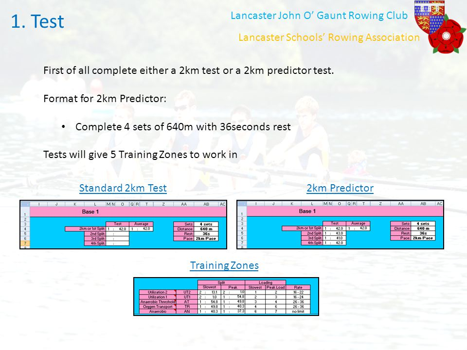 Test 1. Test Lancaster John O' Gaunt Rowing Club