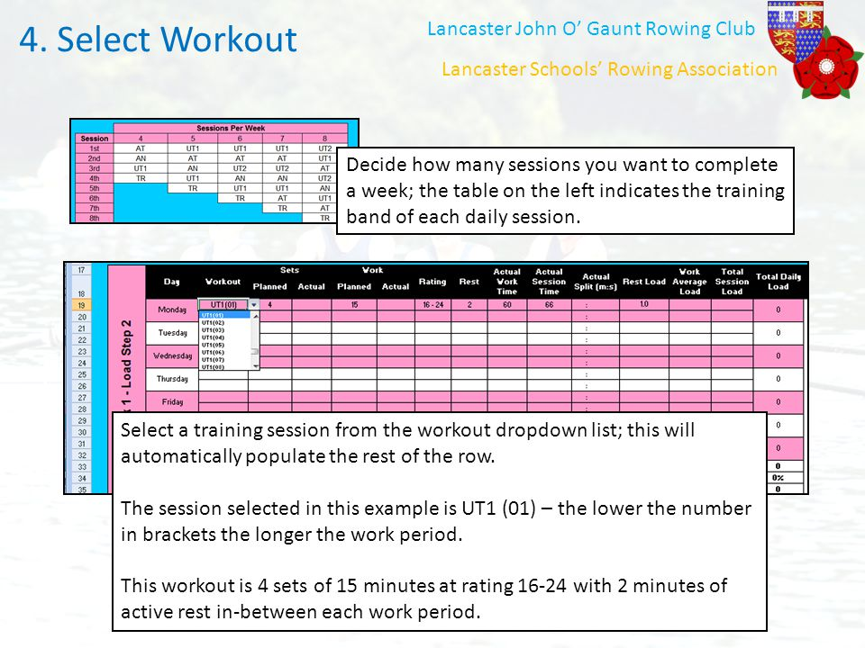 Select Workout 4. Select Workout Lancaster John O' Gaunt Rowing Club
