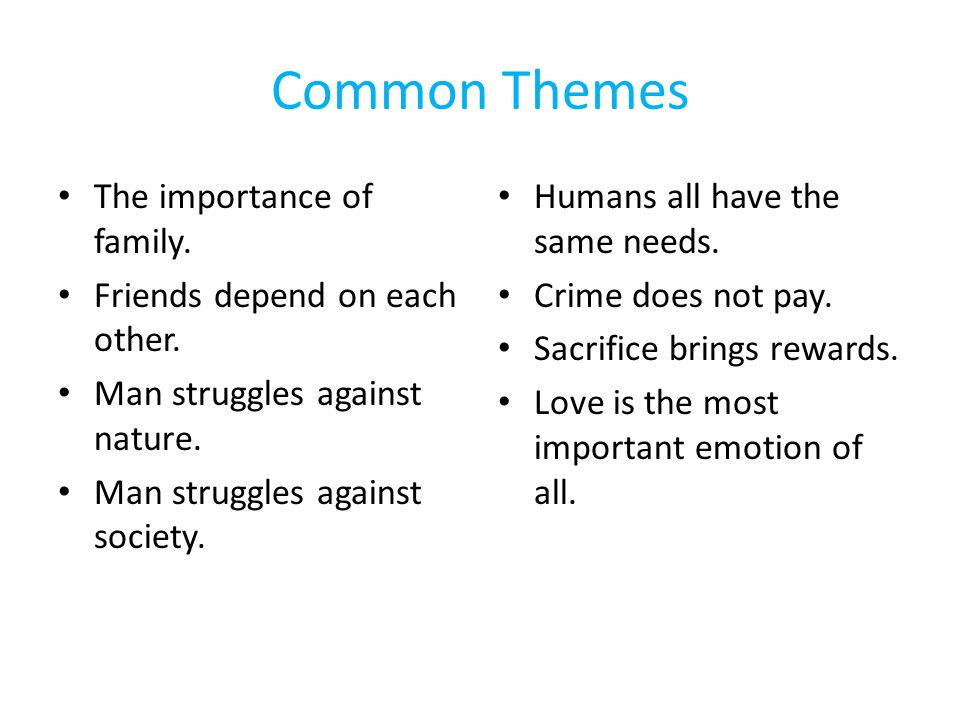 Common Themes The importance of family. Friends depend on each other.