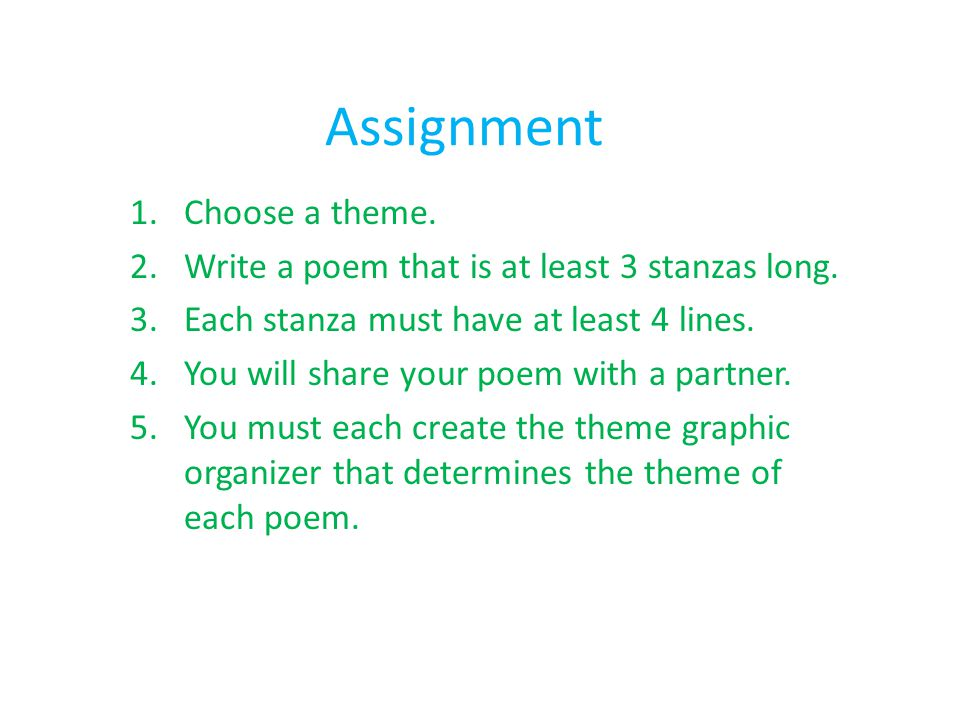 Assignment Choose a theme.
