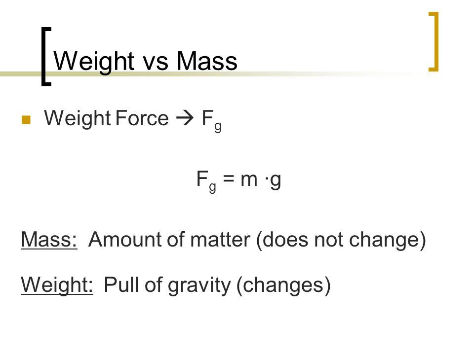 Weight vs Mass Weight Force  Fg Fg = m ·g
