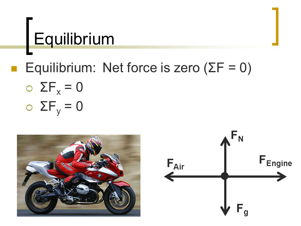 Equilibrium Equilibrium: Net force is zero (ΣF = 0) ΣFx = 0 ΣFy = 0 FN