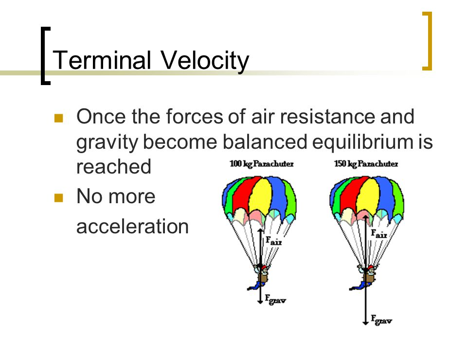Terminal Velocity Once the forces of air resistance and gravity become balanced equilibrium is reached.