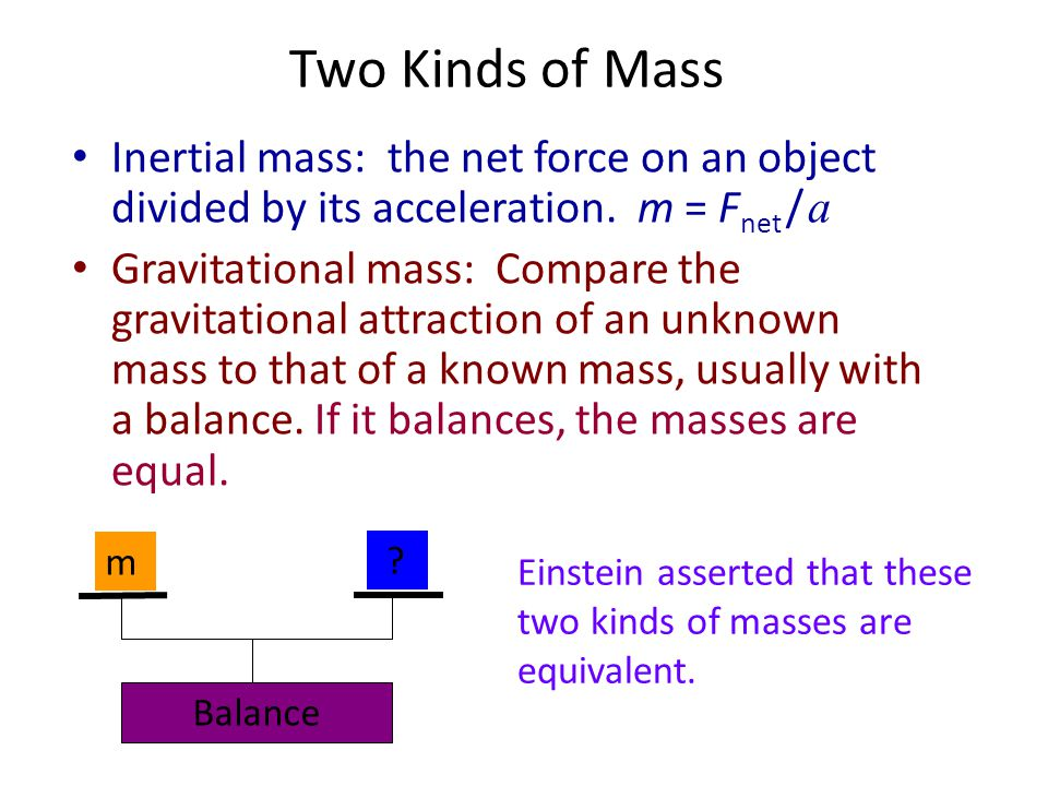 Two Kinds of Mass Inertial mass: the net force on an object divided by its acceleration. m = Fnet / a.
