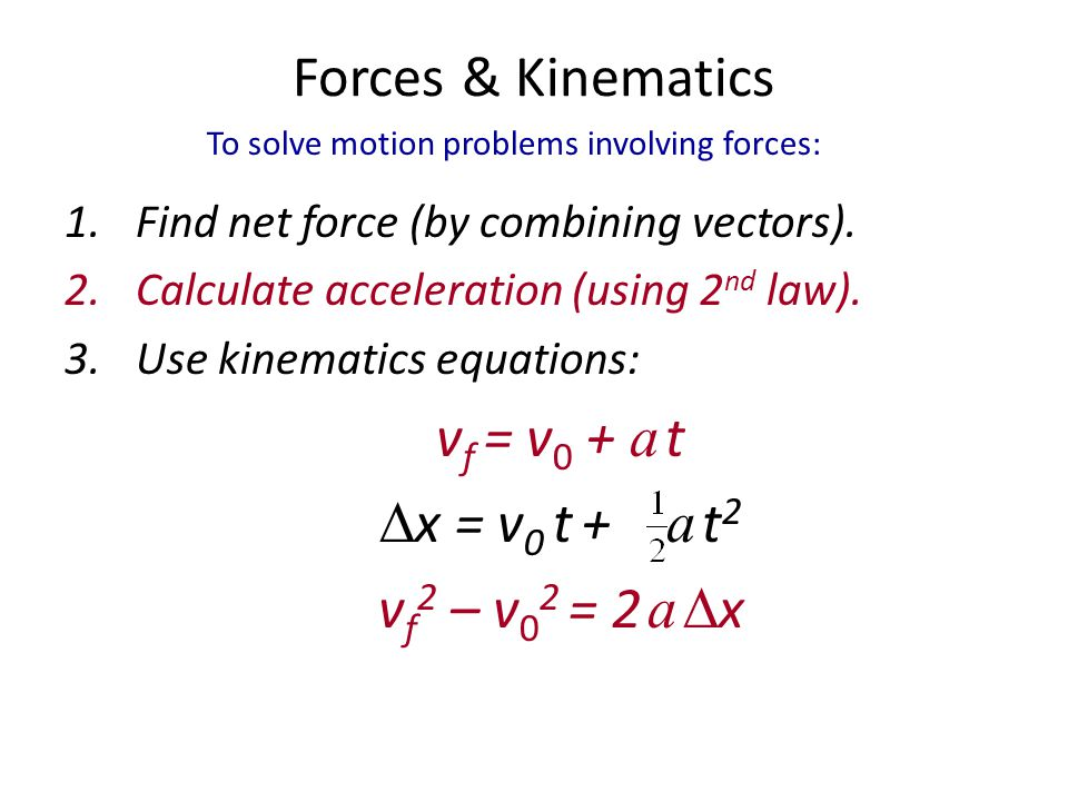 Forces & Kinematics vf = v0 + a t x = v0 t +  a t2