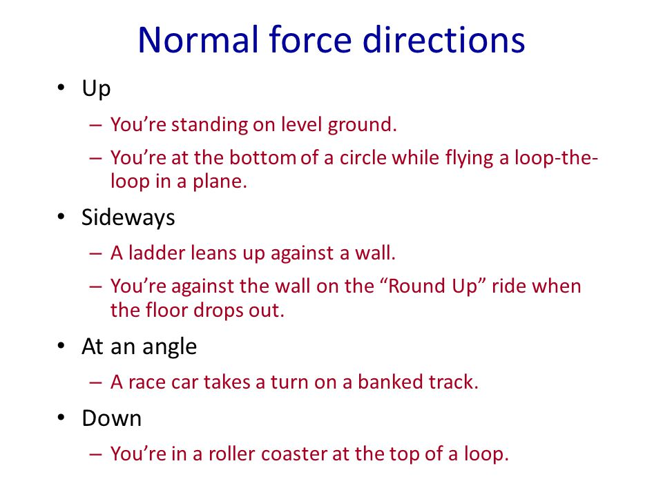 Normal force directions