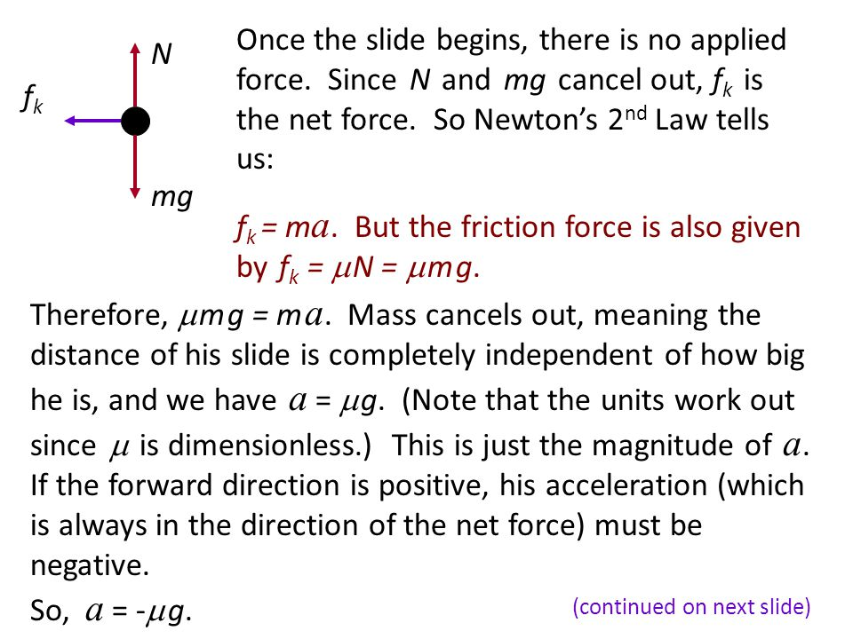 Friction as the net force (cont.)