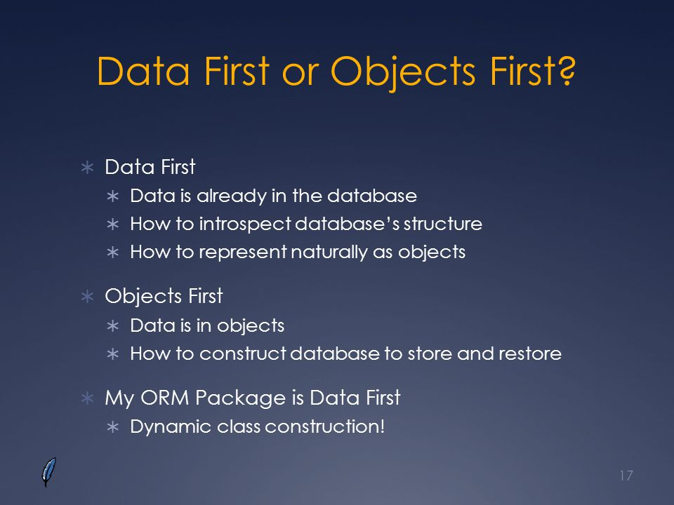 Data First or Objects First