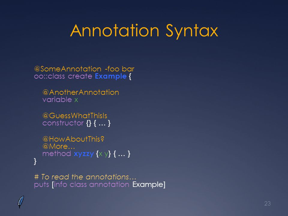 Annotation Syntax