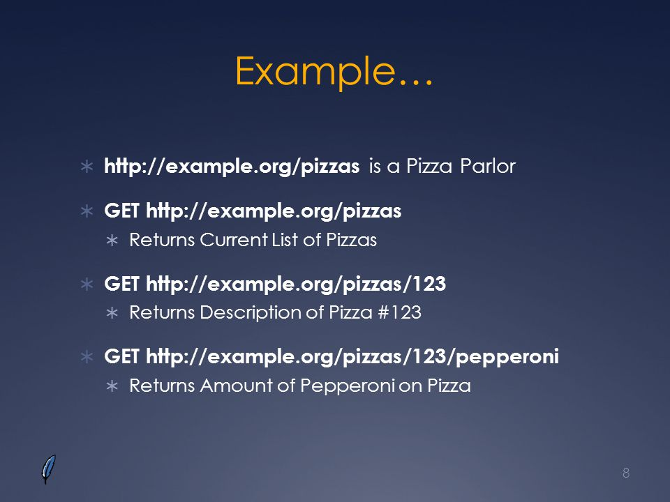 Example… http://example.org/pizzas is a Pizza Parlor
