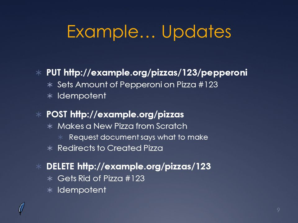 Example… Updates PUT http://example.org/pizzas/123/pepperoni