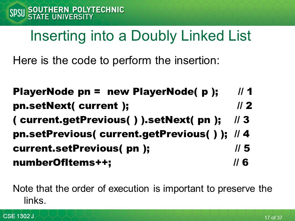 Inserting into a Doubly Linked List