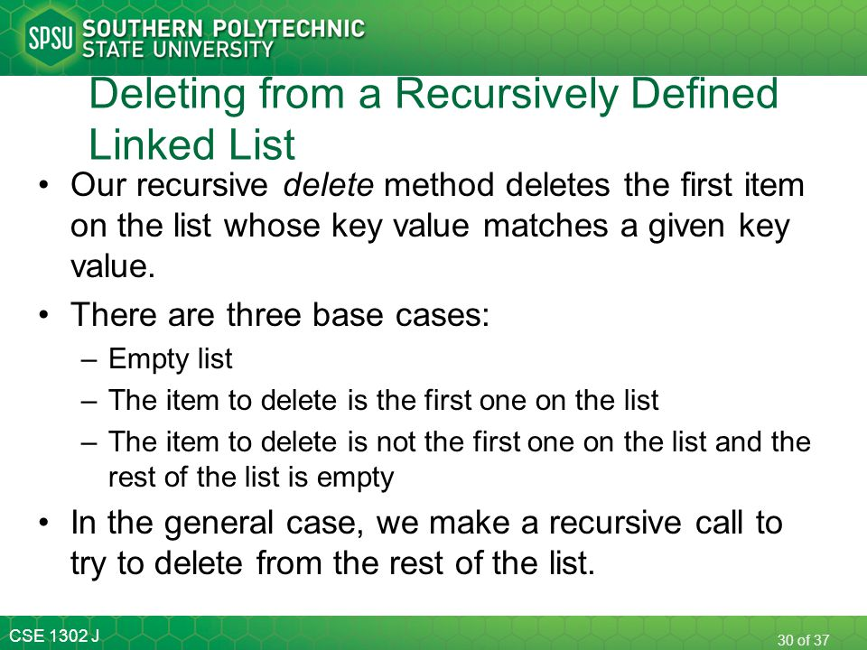Deleting from a Recursively Defined Linked List