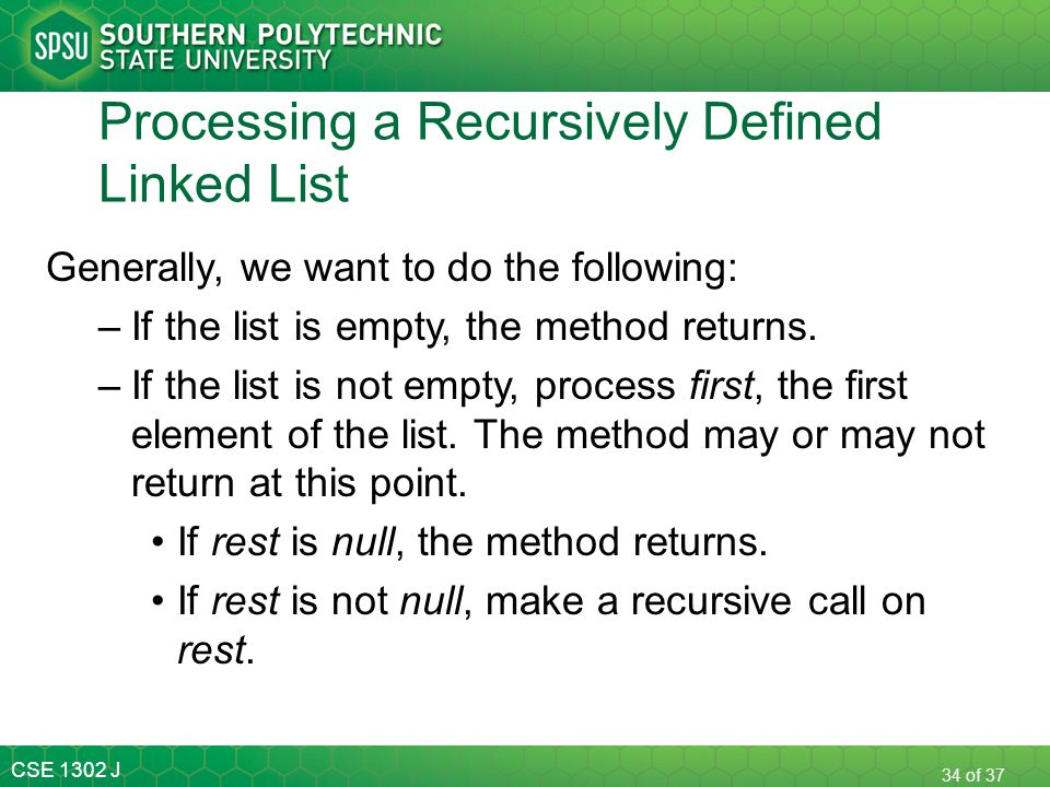 Processing a Recursively Defined Linked List