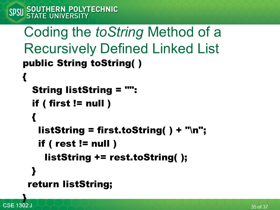 Coding the toString Method of a Recursively Defined Linked List