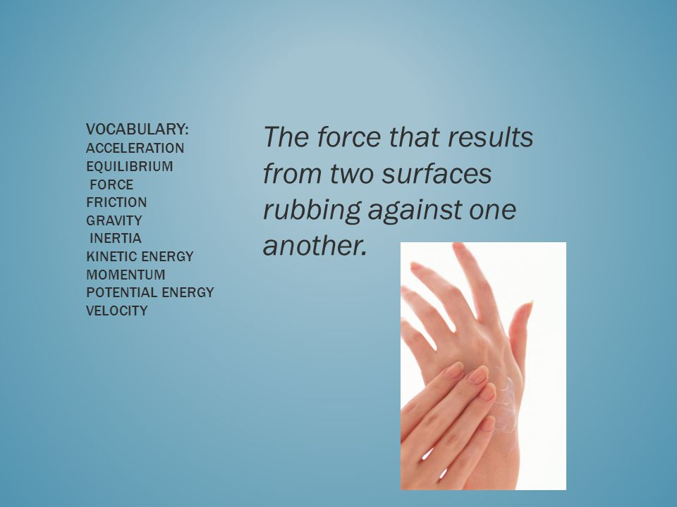 The force that results from two surfaces rubbing against one another.