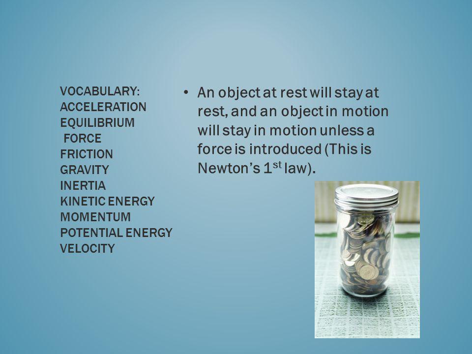 Vocabulary: Acceleration Equilibrium Force Friction Gravity Inertia Kinetic Energy Momentum Potential Energy Velocity