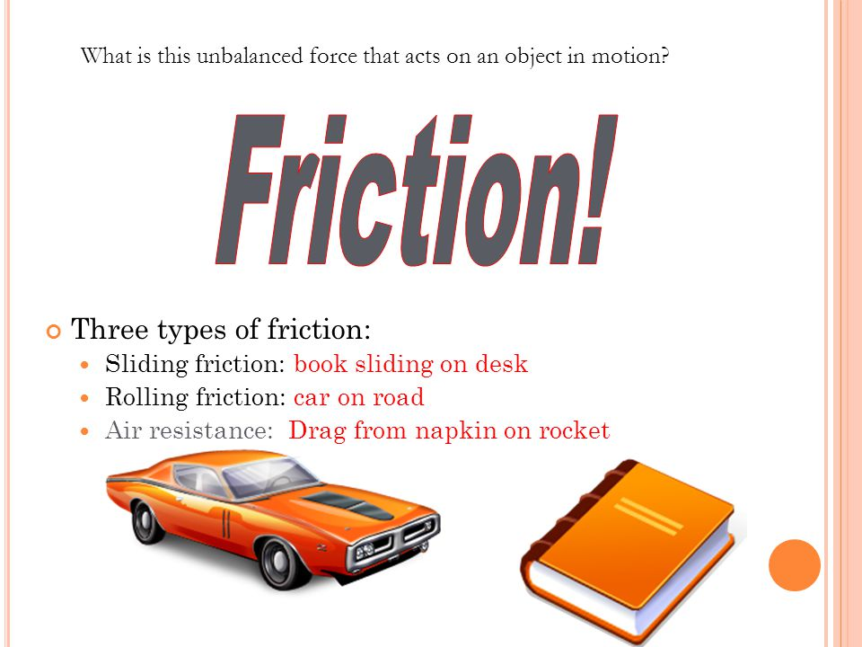 Friction! Three types of friction: