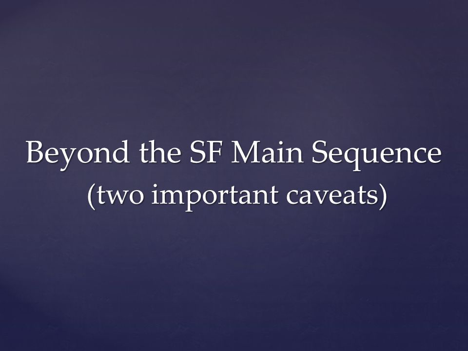 Beyond the SF Main Sequence