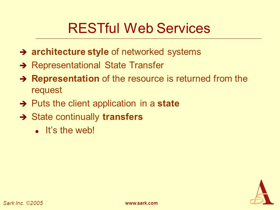 RESTful Web Services architecture style of networked systems