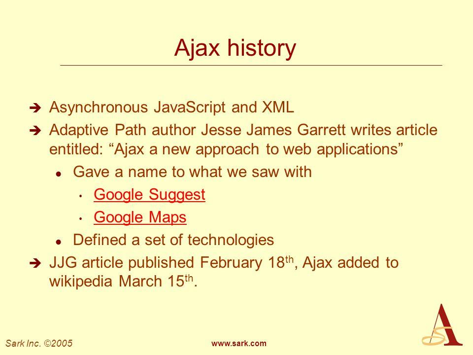 Ajax history Asynchronous JavaScript and XML