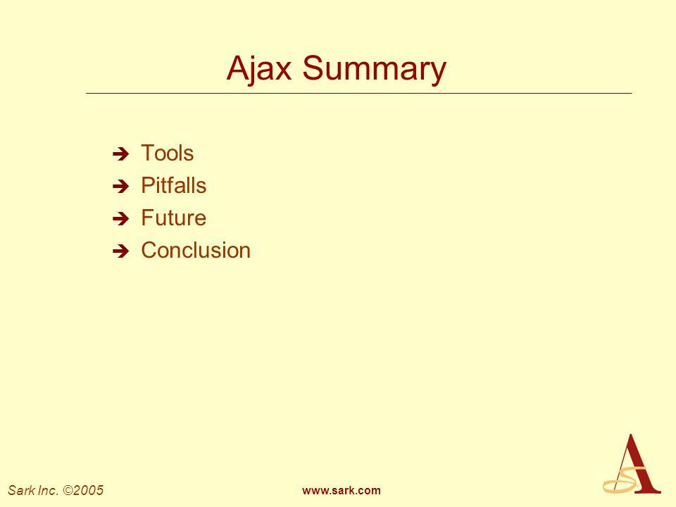 Ajax Summary Tools Pitfalls Future Conclusion www.sark.com