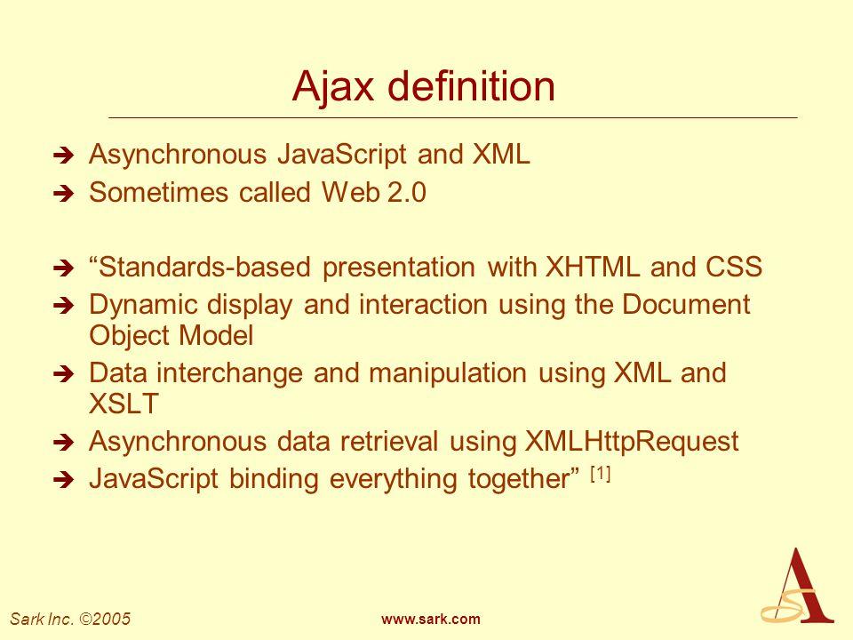 Ajax definition Asynchronous JavaScript and XML