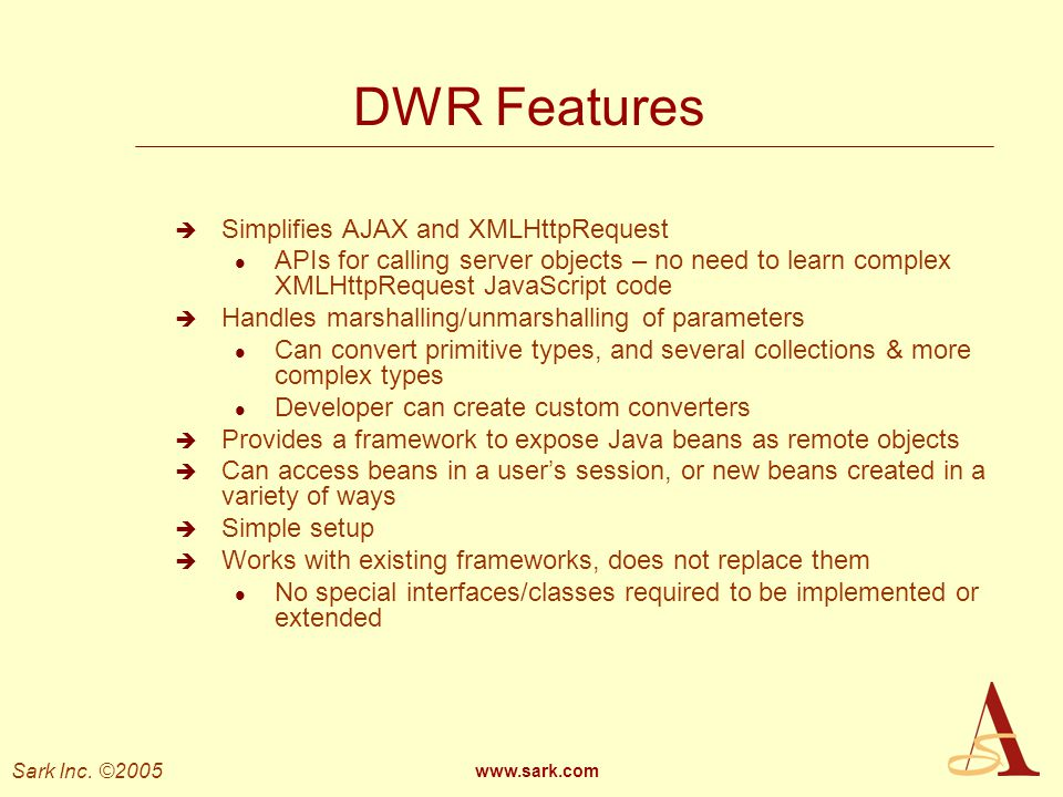 DWR Features Simplifies AJAX and XMLHttpRequest