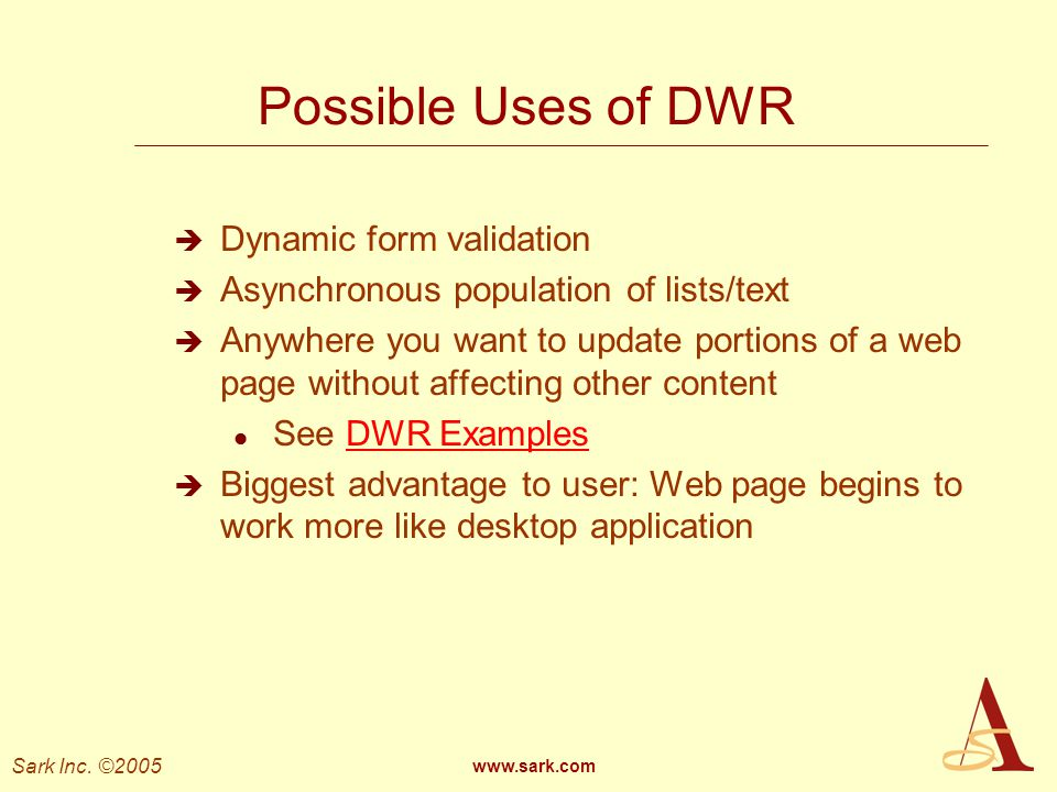 Possible Uses of DWR Dynamic form validation