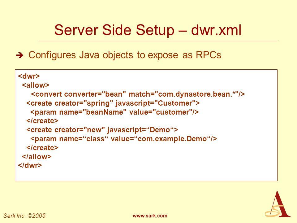 Server Side Setup – dwr.xml