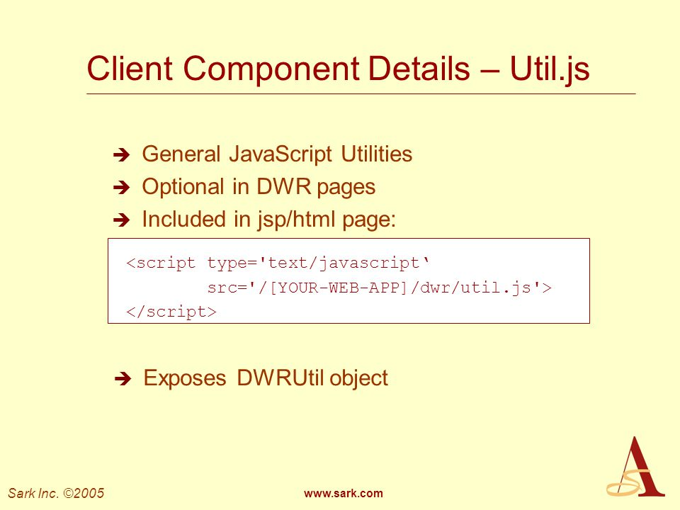 Client Component Details – Util.js