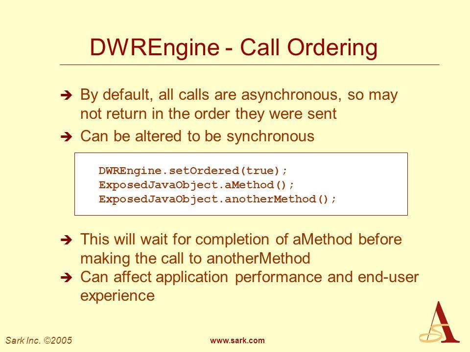 DWREngine - Call Ordering