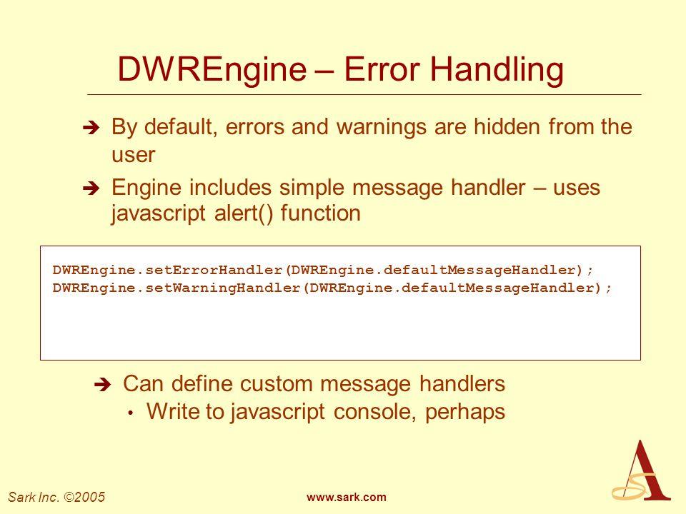 DWREngine – Error Handling